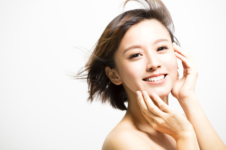 Photo for smiling  young Woman with hair motion - Royalty Free Image