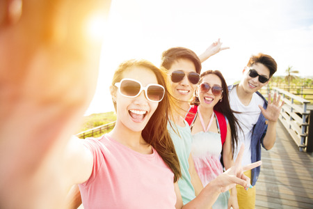 Photo for happy young group friends  taking selfie  on summer vacation - Royalty Free Image