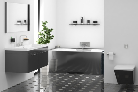 computer generated modern bathroom