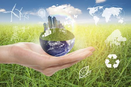 Foto de Green city, Save earth concept,Elements of images furnished by NASA - Imagen libre de derechos