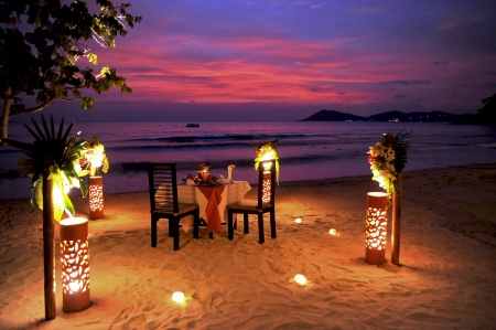 Photo for Romantic Beach Dinner - Royalty Free Image