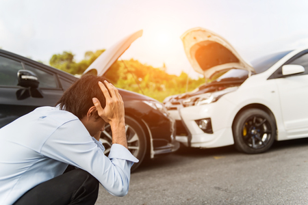 Photo pour Asia man driver man in front of automobile crash car collision accident in city road, select focus - image libre de droit