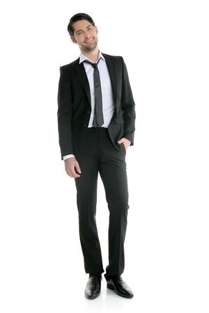 Fashion full length trendy elegant young black suit man