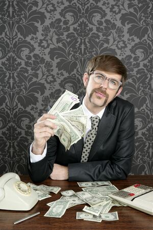 businessman nerd accountant dollar notes on vintage wallpaper office