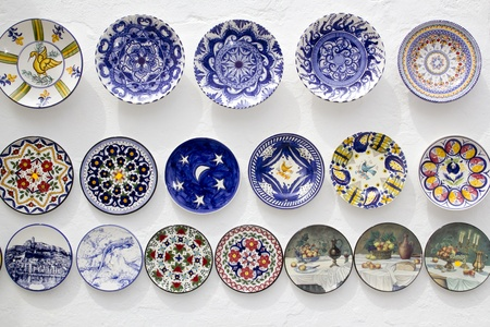 ceramic plates decorated hand painted crafts Mediterranean Ibiza