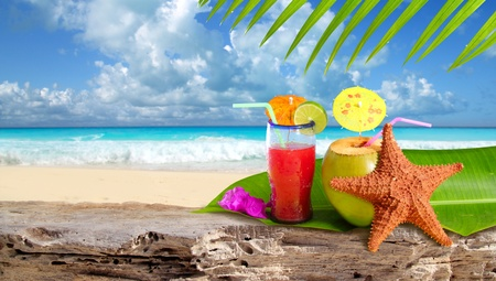 Photo for Coconut tropical cocktail with starfish over a Caribbean beach rock - Royalty Free Image