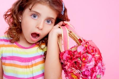 Photo for brunette girl holding fashion spring flowers bag - Royalty Free Image