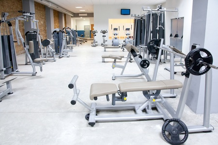 Photo for Fitness club gym with sport equipment modern interior - Royalty Free Image