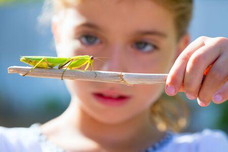 scientific naturalist biologist kid girl looking praying mantis insect closeup