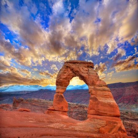 Photo pour Arches National Park Delicate Arch sunset in Moab Utah USA  - image libre de droit