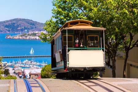 Photo for San francisco Hyde Street Cable Car Tram of the Powell-Hyde in California USA - Royalty Free Image