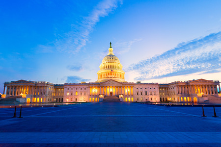 Photo pour Capitol building Washington DC sunset at US congress USA - image libre de droit