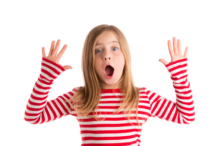 Photo for Blond kid girl open mounth and hands happy expression gesture on white - Royalty Free Image
