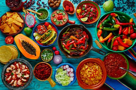 Photo pour Mexican food mix colorful background Mexico - image libre de droit
