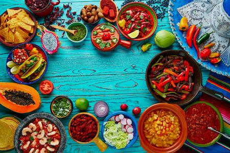 Photo pour Mexican food mix copyspace frame colorful background Mexico - image libre de droit