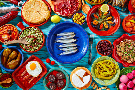 Foto de Tapas from spain mix of most popular recipes of Mediterranean cuisine - Imagen libre de derechos
