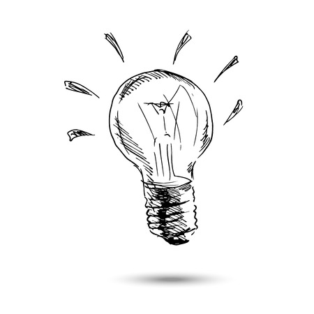 Ilustración de Hand drawing light bulb. Vector illustration - Imagen libre de derechos