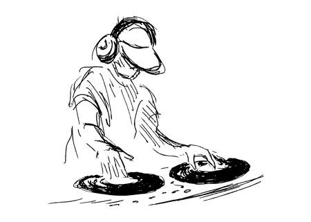 Illustration pour hand sketch DJs - image libre de droit
