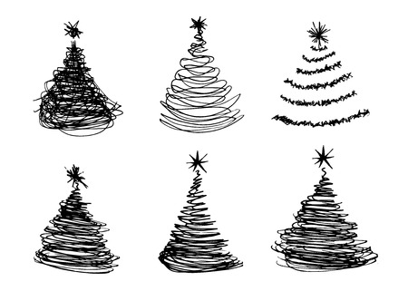 Illustrazione per vector set of hand sketches Christmas trees - Immagini Royalty Free