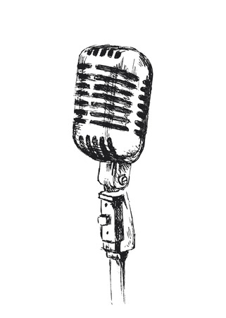 Photo for hand sketch old microphone - Royalty Free Image
