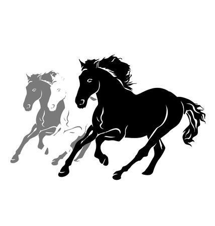 Illustration pour Vector silhouettes of three running horses - image libre de droit