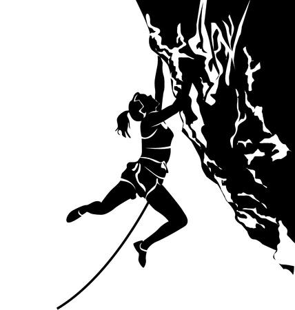Illustration pour vector silhouette of a climber - image libre de droit