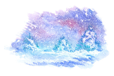 Illustration for Watercolor paintings of winter landscapes. Vector illustration - Royalty Free Image