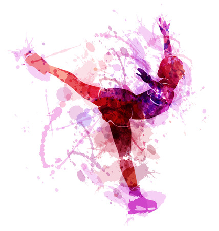 Illustration for Colored vector silhouette figure skaters - Royalty Free Image