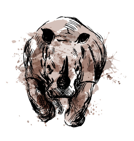 Illustration for Colored hand sketch of the running rhino. Vector illustration - Royalty Free Image