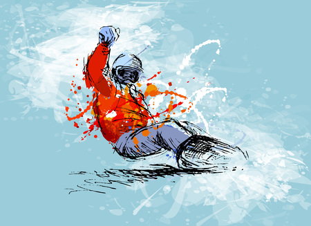 Illustration for Colored hand sketch snowboarder - Royalty Free Image
