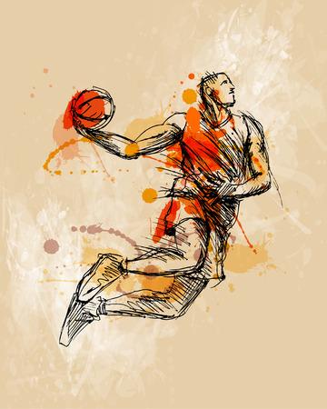 Illustration pour Colored hand sketch basketball player - image libre de droit