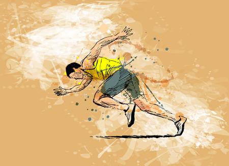 Ilustración de Colored hand sketch running man - Imagen libre de derechos