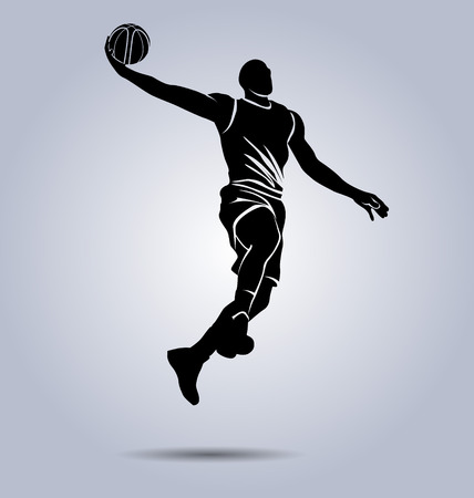 Ilustración de Silhouette of a basketball player - Imagen libre de derechos