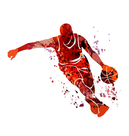 Illustration pour Watercolor silhouette basketball player - image libre de droit