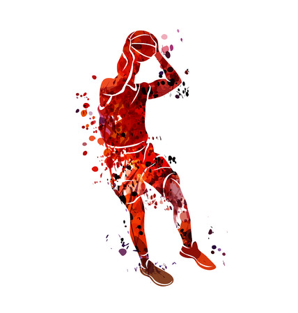 Illustration for Watercolor silhouette basketball player - Royalty Free Image
