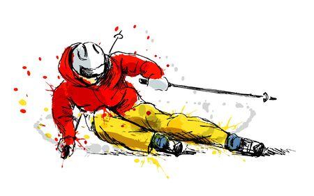Ilustración de Colored hand sketch skier vector illustration. - Imagen libre de derechos