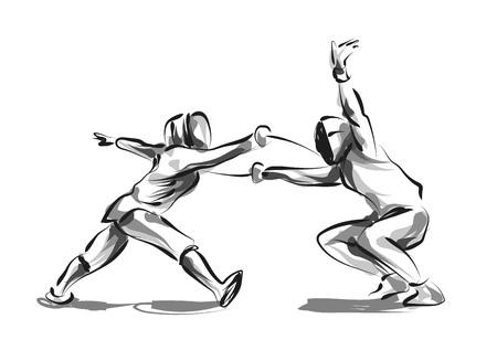 Ilustración de Vector line sketch fencers - Imagen libre de derechos