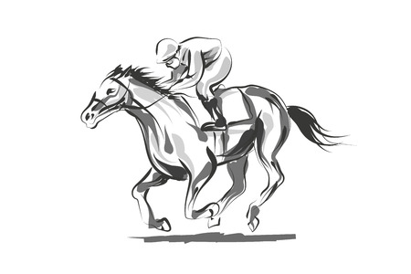 Illustration for Vector line sketch rider with a horse - Royalty Free Image