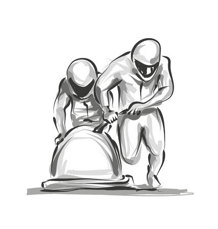 Ilustración de Vector digital sketch bobsleighers - Imagen libre de derechos