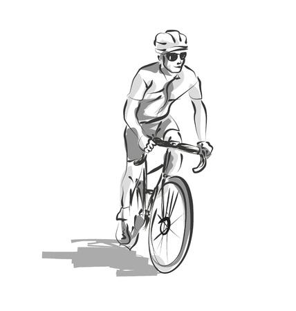 Ilustración de Vector line sketch cyclist - Imagen libre de derechos