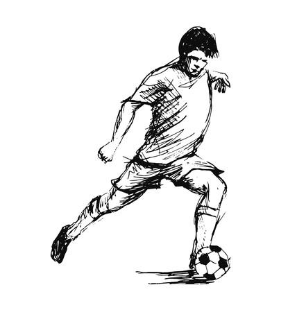 Ilustración de Hand sketch soccer player. Vector illustration - Imagen libre de derechos