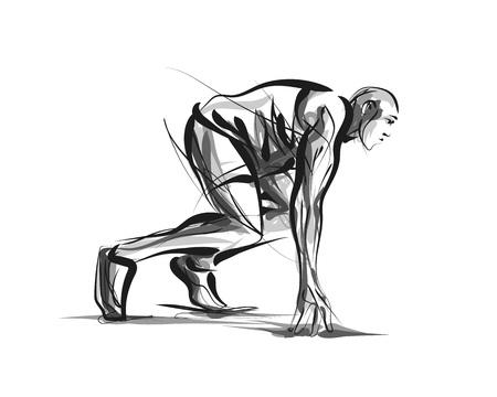 Ilustración de Vector line sketch athlete on track starting to run - Imagen libre de derechos