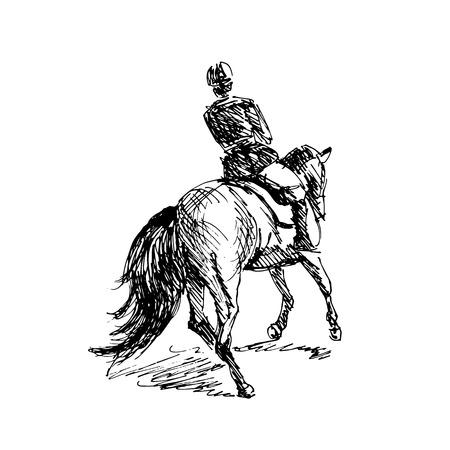 Ilustración de Hand sketch rider on horseback. Vector illustration - Imagen libre de derechos