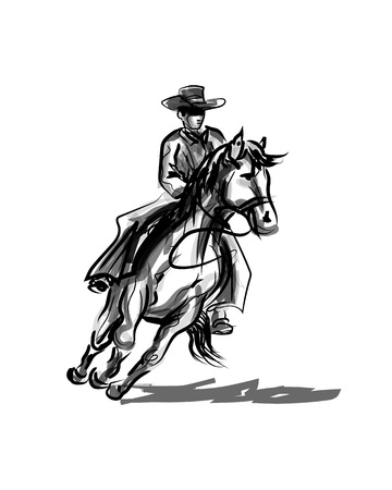 Illustrazione per Vector ink sketch of a cowboy on a horse - Immagini Royalty Free