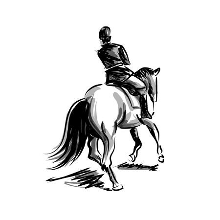 Ilustración de Vector ink sketch rider on horseback - Imagen libre de derechos