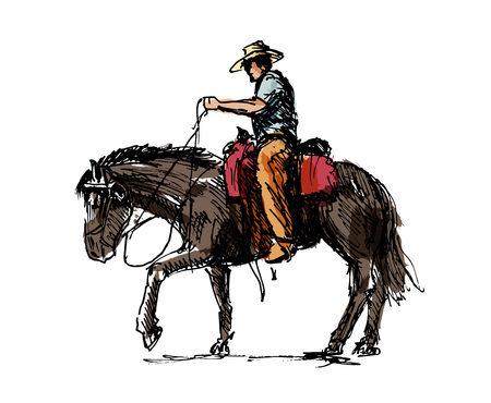 Illustrazione per Colored hand sketch a cowboy on a horse vector illustration. - Immagini Royalty Free