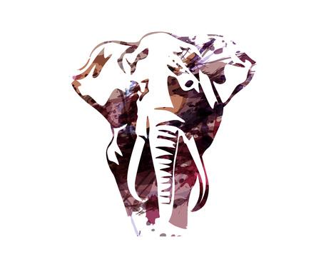 Illustration pour Vector watercolor silhouette of an elephant - image libre de droit