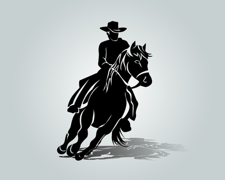 Illustration for Vector silhouette of cowboy on a horse - Royalty Free Image