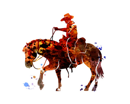 Illustration for Vector watercolor silhouette cowboy on a horse - Royalty Free Image