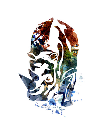 Illustration for Vector watercolor illustration of a rhino - Royalty Free Image